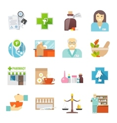 Pharmacicst flat icons set vector image