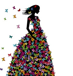 Silhouette of woman in a butterflies dress vector image