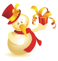 Snowman with gift gold vector image