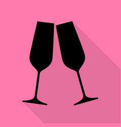 sparkling champagne glasses black icon with flat vector image vector image