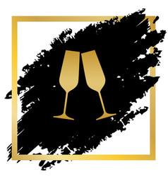 sparkling champagne glasses golden icon vector image