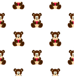 Teddy bear with pink heart pattern seamless vector