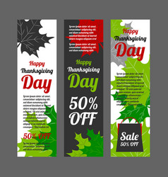 Thanksgiving day banner set vector