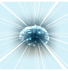 The Concept of Active Human Brain with Rays vector image vector image