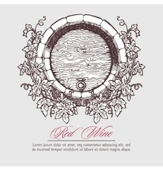 Wine barrel with grapes wreath vector image