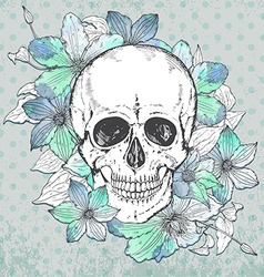 With hand drawn human skull clematis flower vector