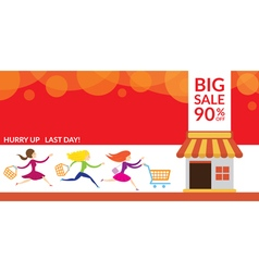 Women hurry run to sale shop vector