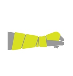 Flat icon of hand with bandage vector