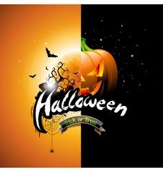 Halloween with pumpkin and moon vector image