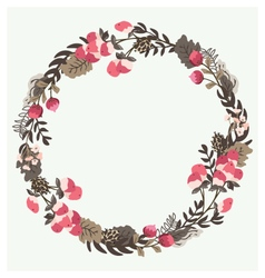 Red berry wreath with forest flowers vector