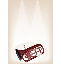 A musical euphonium on brown stage background vector