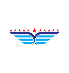 Wings with star abstract logo vector