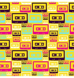 Retro pop audio tapes pattern vector