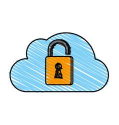 Cloud unlocked padlock vector