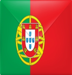 The portugal flag on the mail envelope vector