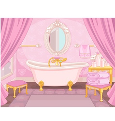 Interior of bathroom in the castle vector