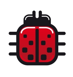 Cartoon ladybug glossy icon vector