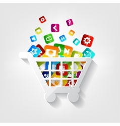 Shopping basket icon application button vector