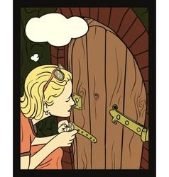 Girl Peeking At A Small Door vector image