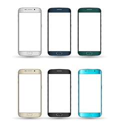 Realistic smartphones set isolated mobile phone vector