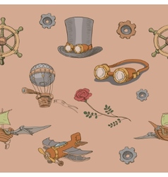 Seamless pattern steampunk with steampunk top hat vector