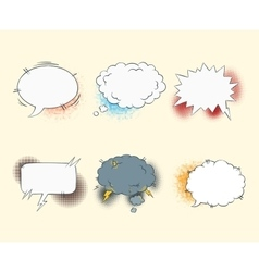 Comic blank text speech bubbles in pop art style vector