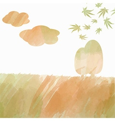 Double exposure watercolor autumn landscape vector