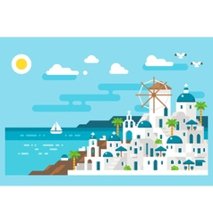Flat design santorini cityscape view vector image