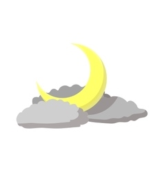 Sky with a moon and clouds icon cartoon style vector image