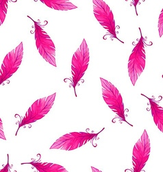 Watercolor seamless pattern with bird feathers vector