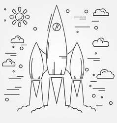 Startup rocket thin line icon human space flight vector