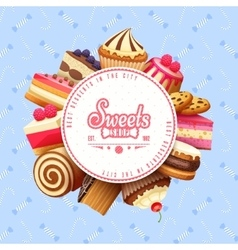 Cupcakes sweets shop round background poster vector