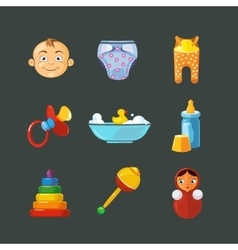 Pistures of toys icons set isolate on dark vector