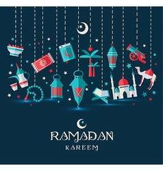 Ramadan Kareem icons set of Arabian vector image
