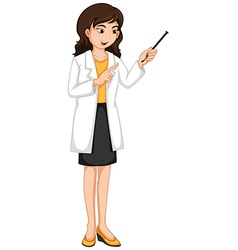 Female ophthalmologist checking eyes vector
