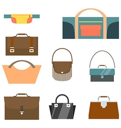 Bag and purse set flat design vector