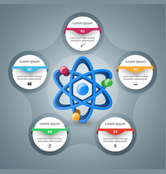 Abstract 3d infographic atom science ico vector