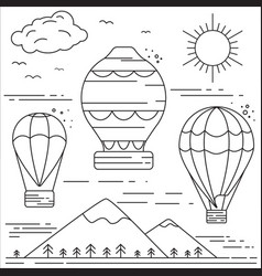 Air balloons above the mountains vector