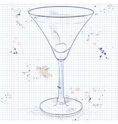 Alcoholic cocktail rose on a notebook page vector