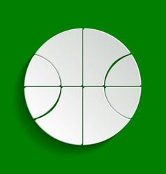 Basketball ball sign paper vector