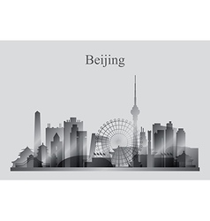 Beijing city skyline silhouette in grayscale vector