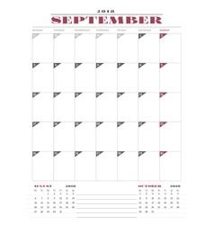 Calendar Planner Template for 2018 Year September vector image vector image