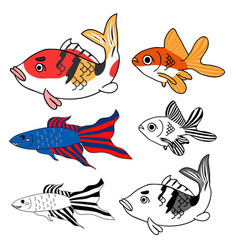 carp goldfish siamese fighting fish set vector image