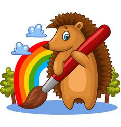 cartoon hedgehog character with big brush vector image vector image
