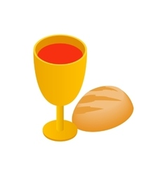Chalice with wine piece of bread isometric icon vector image