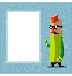 Character with glasses and fez in front of poster vector