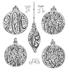 Christmas balls letteringcard elements setBlack vector image vector image