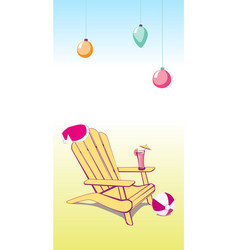 christmas summer beach chair vector image