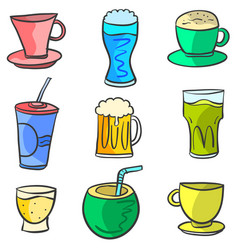 Collection drink various style doodle set vector