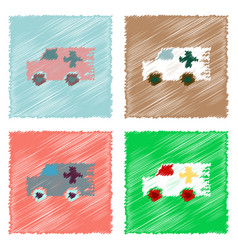 Collection of flat shading style icons ambulance vector